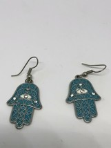 Vintage Style Blue Hand Of Fatima Good Luck Amulet Earrings - $27.81