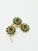 Vintage flower bouquet brooch pin gold tone green rhinestone beads - $24.75