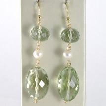 Yellow Gold Earrings 750 18k Pendants 5 CM, Prasiolite Cushion Cut and Pearls image 1