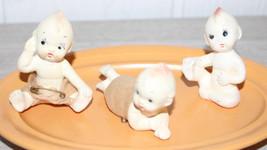 "3 Vintage Bisque Piano Babies Kewpies Painted Eyes Different Poses Minis 3"" - $52.25"