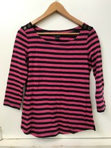 Banana Republic Women's Pink Navy Blue Striped Button Boat Neck Top S Small - $14.95