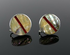 Vintage Ornate Round Chunky Abalone Shell Mother Pearl Screw Back Earrin... - $24.66