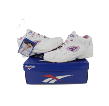 NOS Vintage 90s Reebok Womens 6.5 Spell Out Leather Sneakers Shoes White... - $89.05