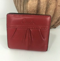 Coach Ashley Small Wallet Red Leather Bifold Pleated Front W9 - $49.49