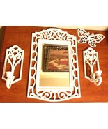 Vintage 80s White Home Interiors Homeco Candle Sconces Mirror Butterfly ... - $49.50