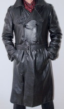 Men Leather Coat Winter Long Leather Coat Genuine Real Leather Trench COAT-UK-8 - $214.46