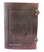 Vintage Large Heart Leather Journal Embossed Travel Diary Handmade Bound... - $29.89