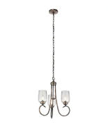 Kichler Chesterlyn 3-Light Vintage Tuscan Traditional Ribbed Glass Shaded  - $79.19