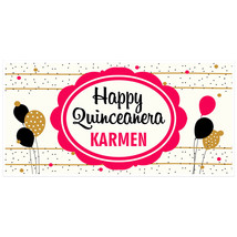 Balloons and Confetti Quinceañera Birthday Banner Personalized Party Backdrop - $23.88