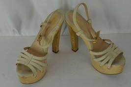Fendi Sling Back Open Toe High Heel Sandals Size 38 Cream Wooden Heels 8 US Boho - $116.96