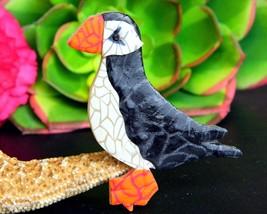 Puffin Bird Brooch Pin Polymer Clay Alaskan Artist Jacqui Ertischek  - $24.95