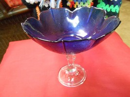 """Beautiful Blue & Clear Crystal Glass P EAN Uts / Candy """"Compote""""..............Sale - $10.89"""