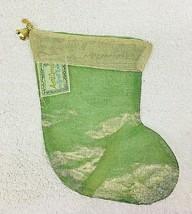 Older April Cornell Silk Christmas Stocking Gold Green Bell - $12.38