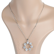 UE- Glamorous Silver Tone Designer Necklace With Swarovski Style Crystal... - $21.99