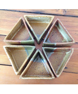 Japanese Signed Joi Stoneware Triangular Set 6 Serving Bowls Art Studio ... - $119.99