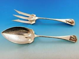 Antique Hammered & Applied by Gorham Sterling Silver Salad Set Copper Metal Fish - $1,358.10