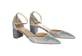 J Crew Avery Glitter Hologram Mint Womens Heels 7 G8161 Pumps Shoes - $91.99