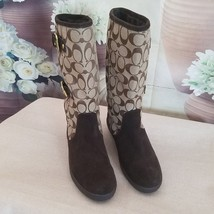 AUTHENTIC COACH Women's Boots Tinah Mid-Calf  Brown & Beige Side Buckles... - $102.84