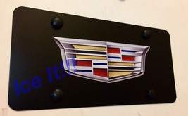 For Cadillac Crest Stainless Steel Black License Plate Frame Heavy Duty W/ Caps - $22.28