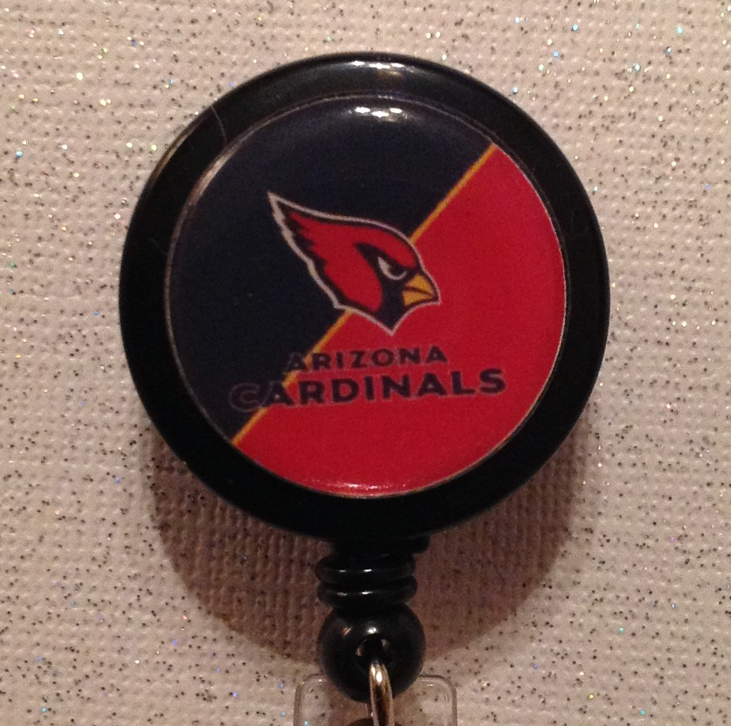 Primary image for Nfl Arizona Cardinals Badge Reel Black Red Alligator Clip Handmade New