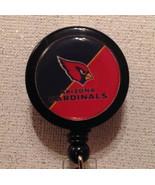 Nfl Arizona Cardinals Badge Reel Black Red Alligator Clip Handmade New - $8.99