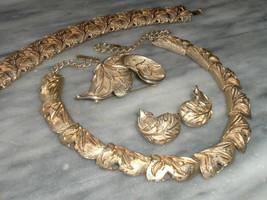 Vintage Sarah Coventry Set Designer Gold Tone Necklace Bracelet Earring & Brooch - $89.95