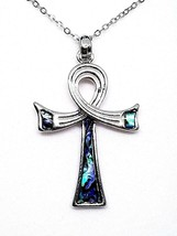 Ankh Abalone Shell Pendant Egyptian Life Chain Gift Boxed Necklace - $12.51