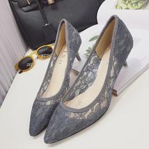 Low Heels Grey Lace Wedding Shoes,Gray Women Bridal Heels,Grey Evening Shoes image 2