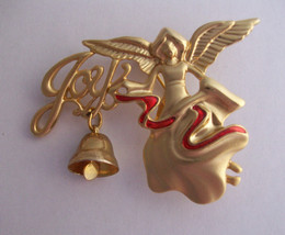 Angel Dangling Bell Brooch Danecraft Joy Christmas Red Enamel Goldtone M... - $12.74