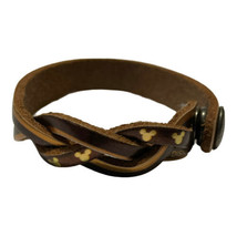 Disney Mickey Mouse Brown Leather Treaty Bracelet Braided Gold Ears Snap Closure - $14.03
