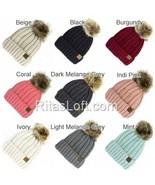 CC Beanie Cap Hat Cable Knit Fuzzy Lined Faux Fur Pom - $19.99