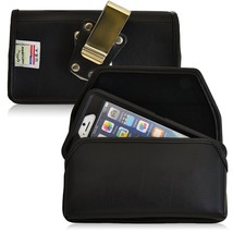 Genuine Leather Magnetic Metal Clip Case fits CAT S61 with a cover - $39.99