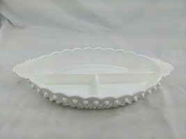 Vintage Fenton Hobnail Milk Glass Divided 3-Section Relish Dish Divided - $14.95