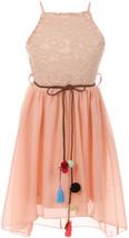 Flower Girl Dress Thin Strap Lace Top Chiffon Bottom Peach JKS 2087 - $21.78+