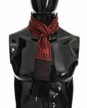 Dolce & Gabanna Mens Brown Red Zigzag Silk Scarf - $125.73