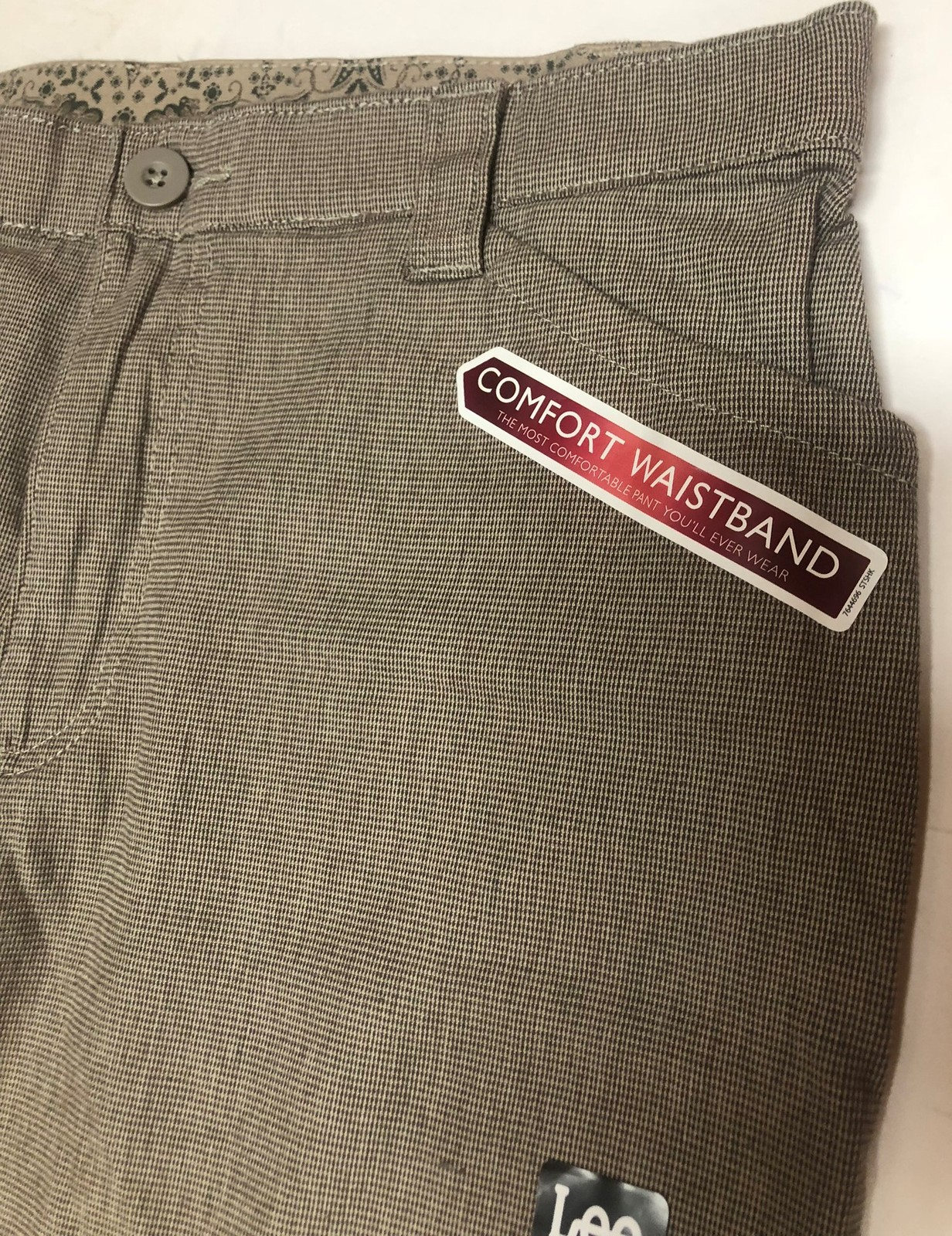 Lee Comfort Fit Casual Pants Women's Sz 14M Gray Small Plaid image 5
