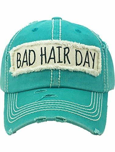 scarlettsbags Distressed Vintage Style Bad Hair Day Hat Baseball Cap (Green)