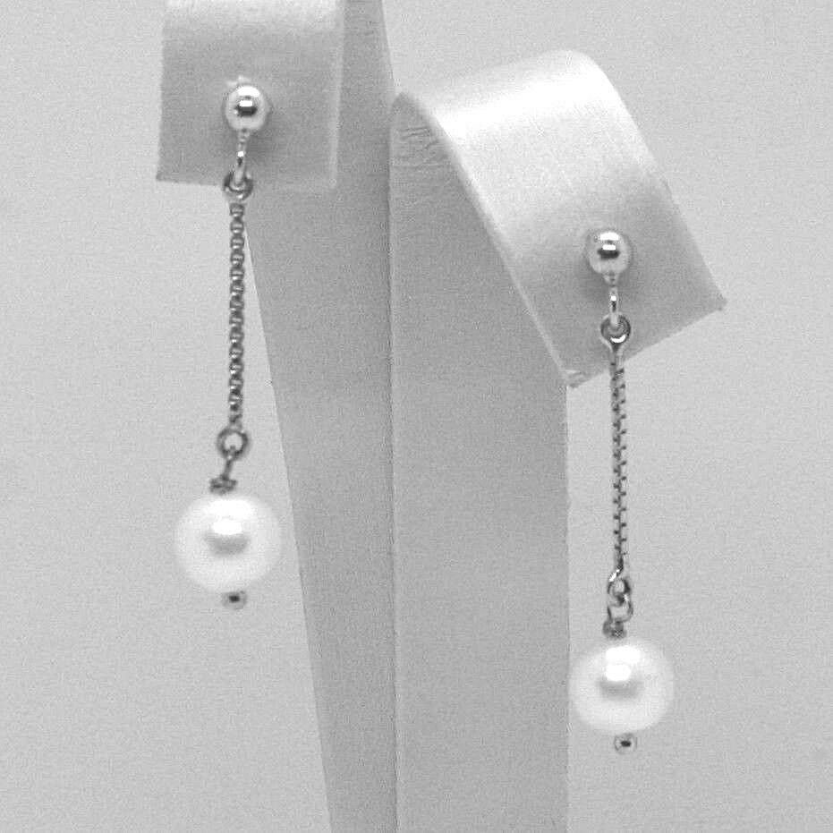 Drop Earrings White Gold 18K, Chain Venetian, Pearl White 7 mm, Gold 750