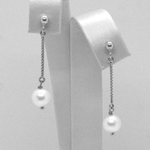 Drop Earrings White Gold 18K, Chain Venetian, Pearl White 7 mm, Gold 750 image 1