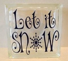 Let It Snow Glass Brick - $19.31