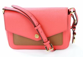 Michael Kors Shoulder Bag Sienna Pink Coral Greenwich Leather Small Handbag - $202.14