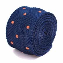 Frederick Thomas bleu marine cravate en tricot fin avec orange pois pointillée