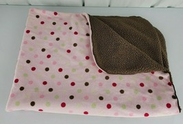 Just Born Pink Polka Dot Brown Sherpa Baby Blanket Lovey Red Green Circles - $44.54