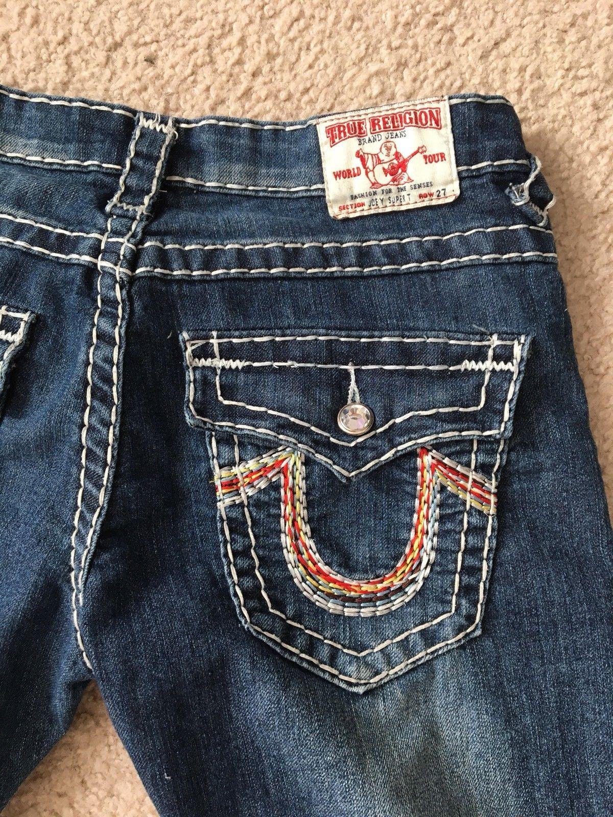 78a82278a True Religion Jeans Joey Super T Size W 27 L 31 Dark Colored Stitch Jeweled  USA