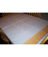 Large cotton vintage tablecloth sunflower orange - $40.00