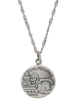 Sterling Silver Philadelphia City Of Brotherly Love With Thin Singapore Necklace - $27.10+