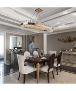 Crystal Chandelier Oval Design Gold-Bronze Hanging Lighting Fixture LED ... - $669.99+
