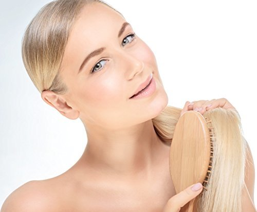 SHARCA Premium Wooden Bamboo Hair Brush with Ball Tipped Bristles from Natural W