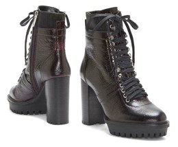 Vince Camuto Ermania Moon Dark Red/Black Lace-Up Platform Boots NIB 8.5M - £108.39 GBP