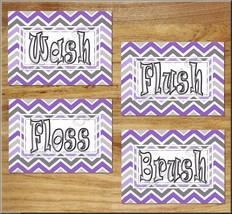 Purple Gray Chevron Bathroom Wall Art Print Picture Quotes Wash Brush Flush Kids - $13.99